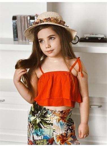 Hilal Akıncı Kids Kiz Çocuk Desenlı Salaş Pantolon Askili Renklı Bluz Ikılı Takim Oranj